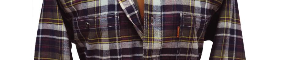 Рубашка фланелевая в серо-бардовую клетку на теплой хлопковой