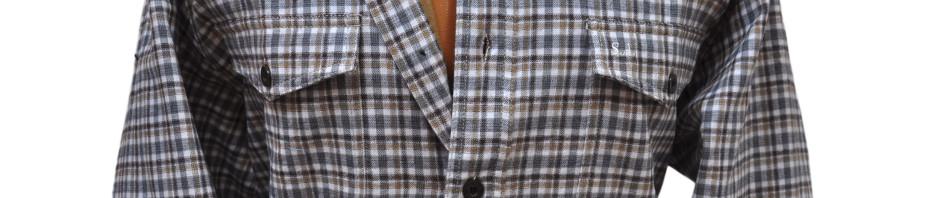 Мужская рубашка фланелевая в серо-бежевую клетку на теплой