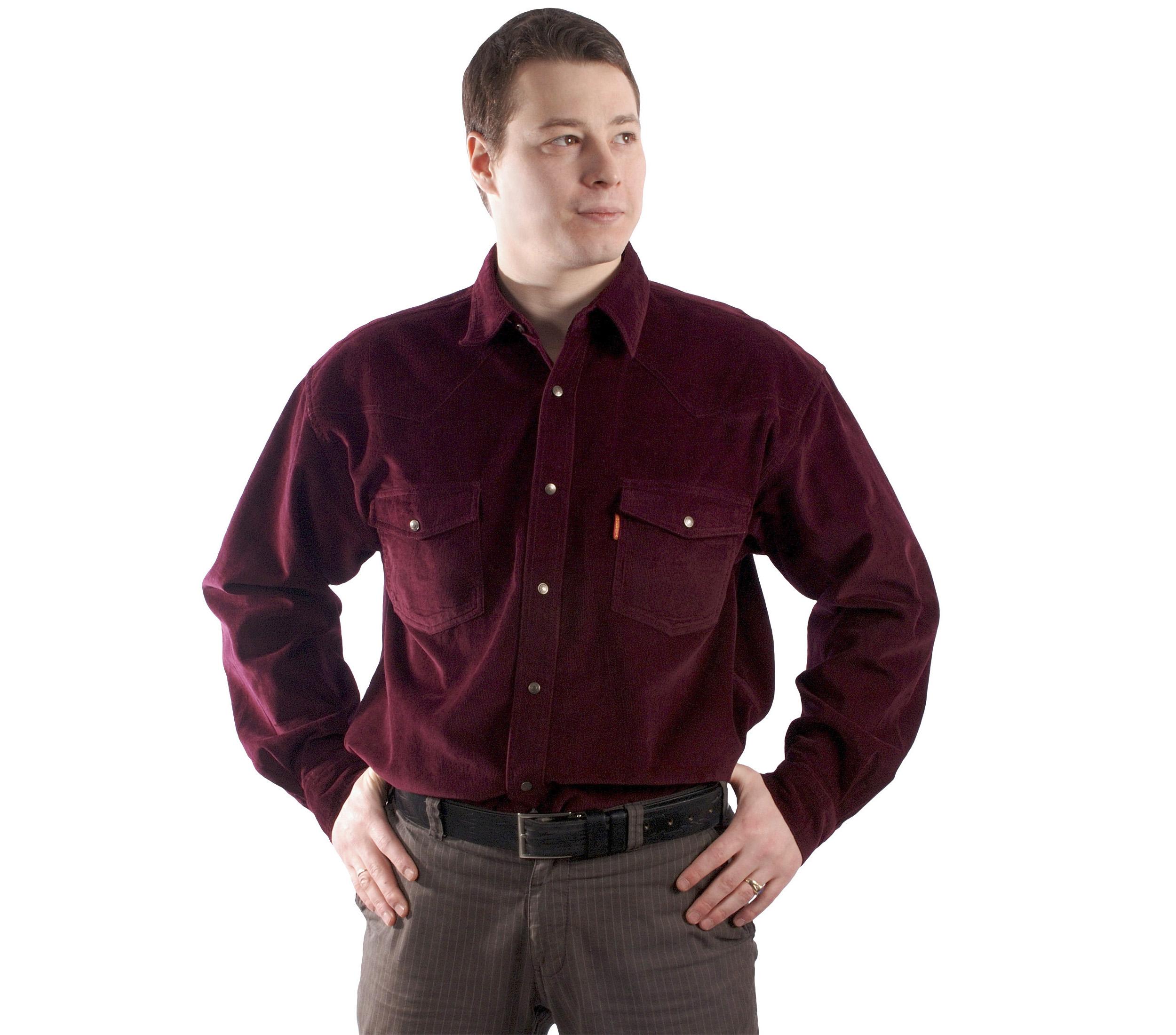 Рубашка бордового цвета, на кнопках с двумя накладными карманами