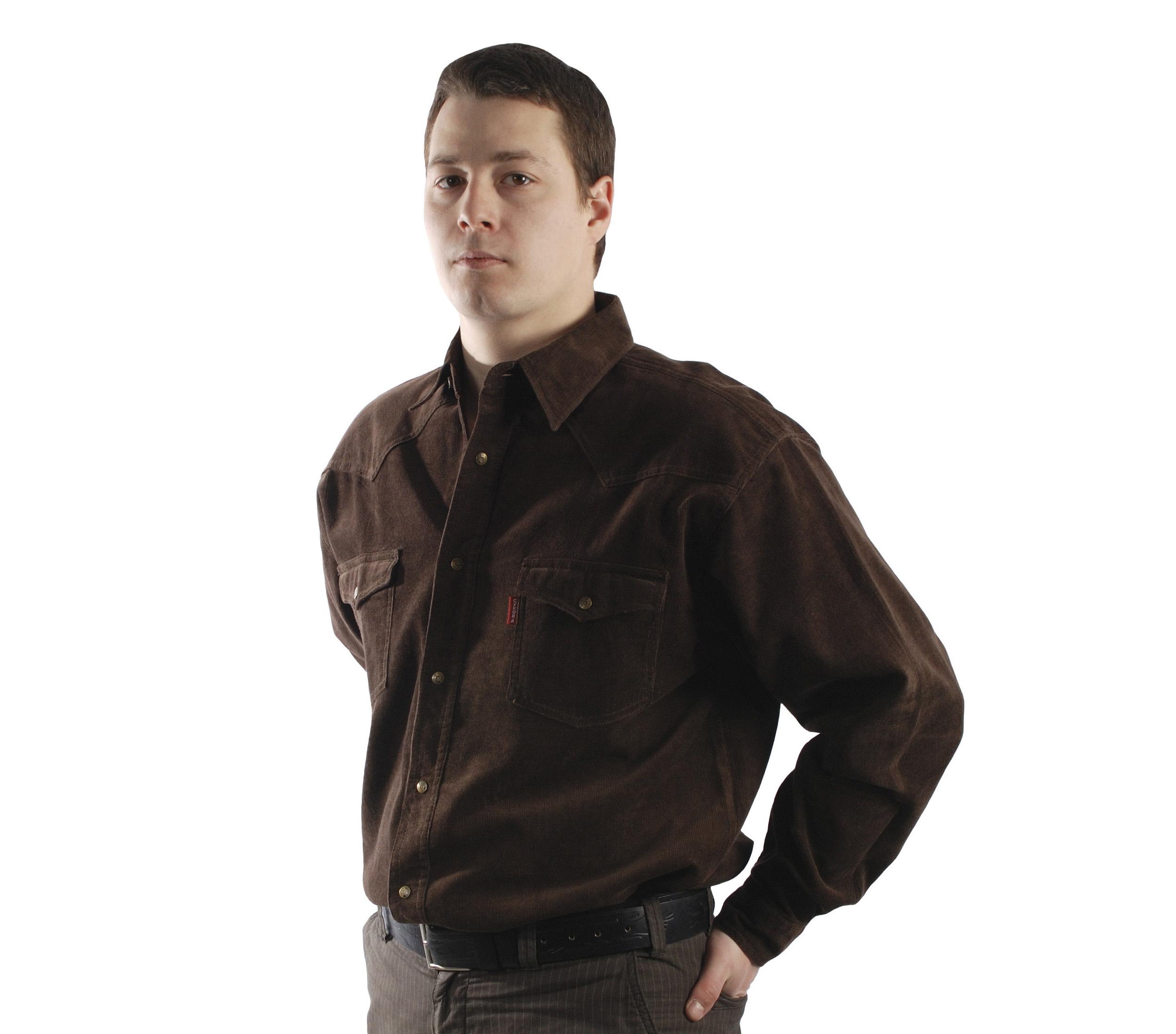 Рубашка коричневого цвета на кнопках с двумя накладными карманам
