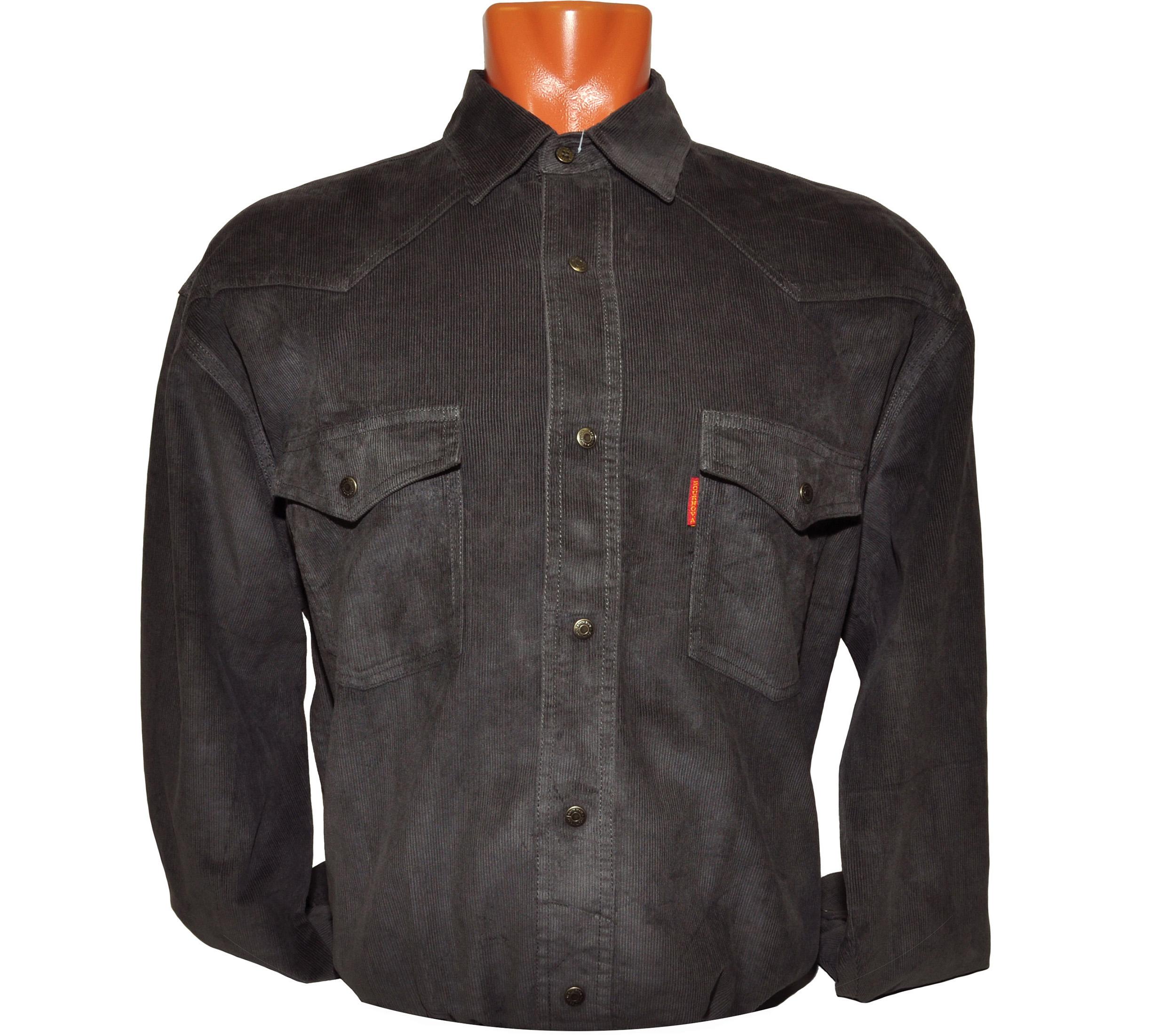 Рубашка серого цвета, на кнопках с двумя накладными карманами