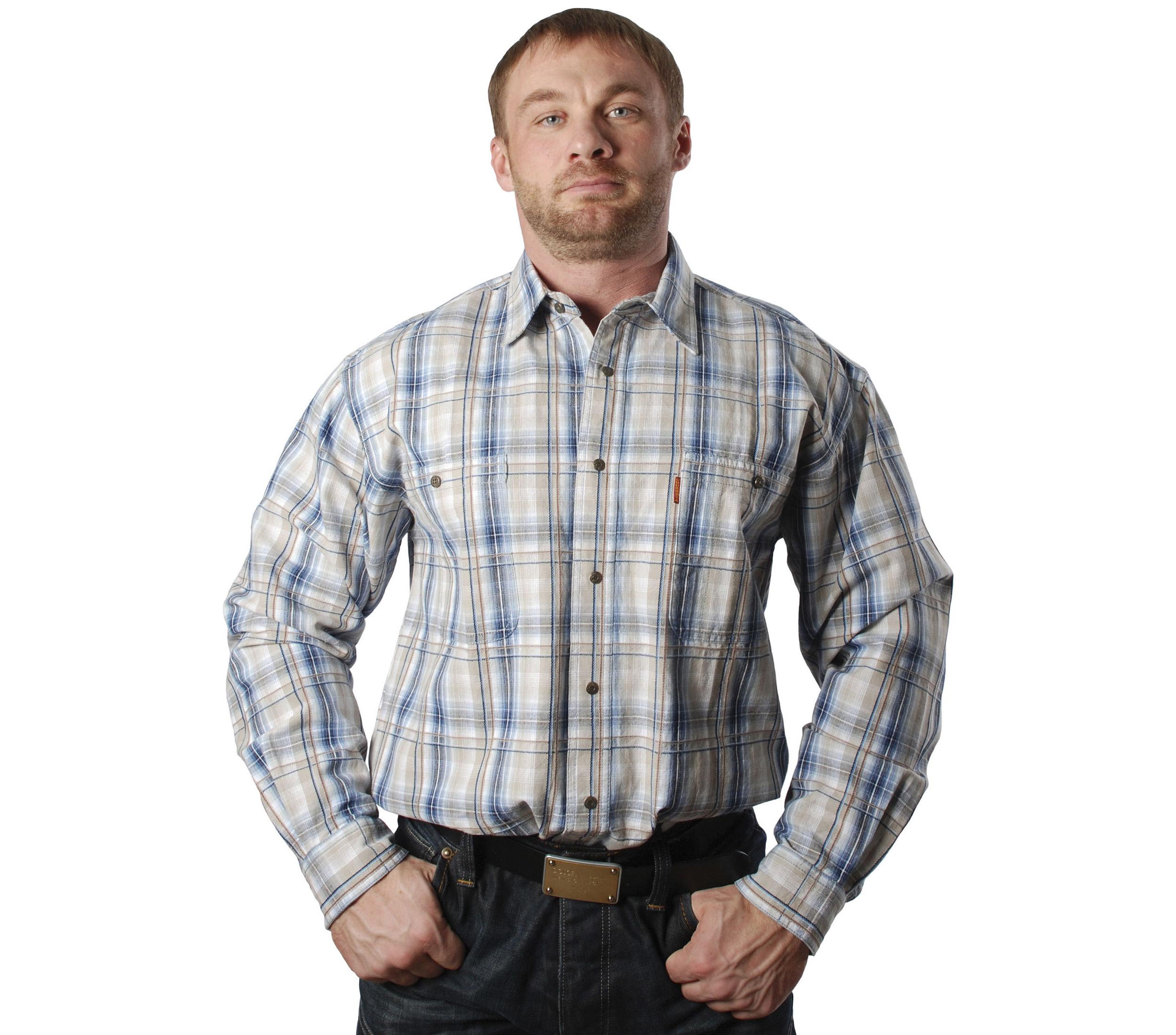 Рубашка в среднюю синюю и бежевую клетку. Материал средней