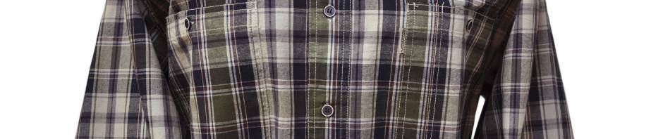 Мужская рубашка в среднюю клетку зеленого и черного цвета с бордо