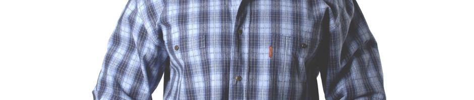 Рубашка в среднюю клетку синего цвета с тонкими белыми полосами.