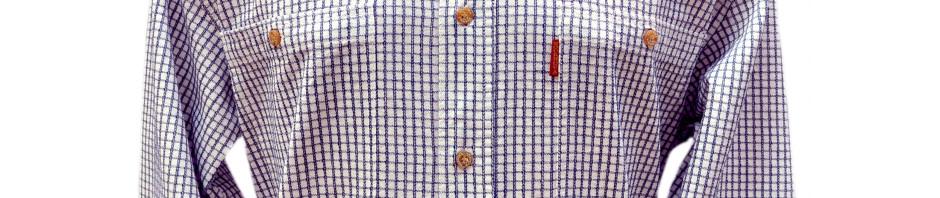 Мужская рубашка большого размера в в мелкую клетку. Модель