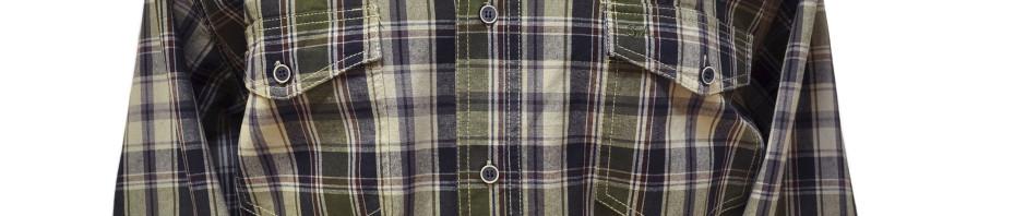 Рубашка большого размера в среднюю темно зеленую с красной полосой