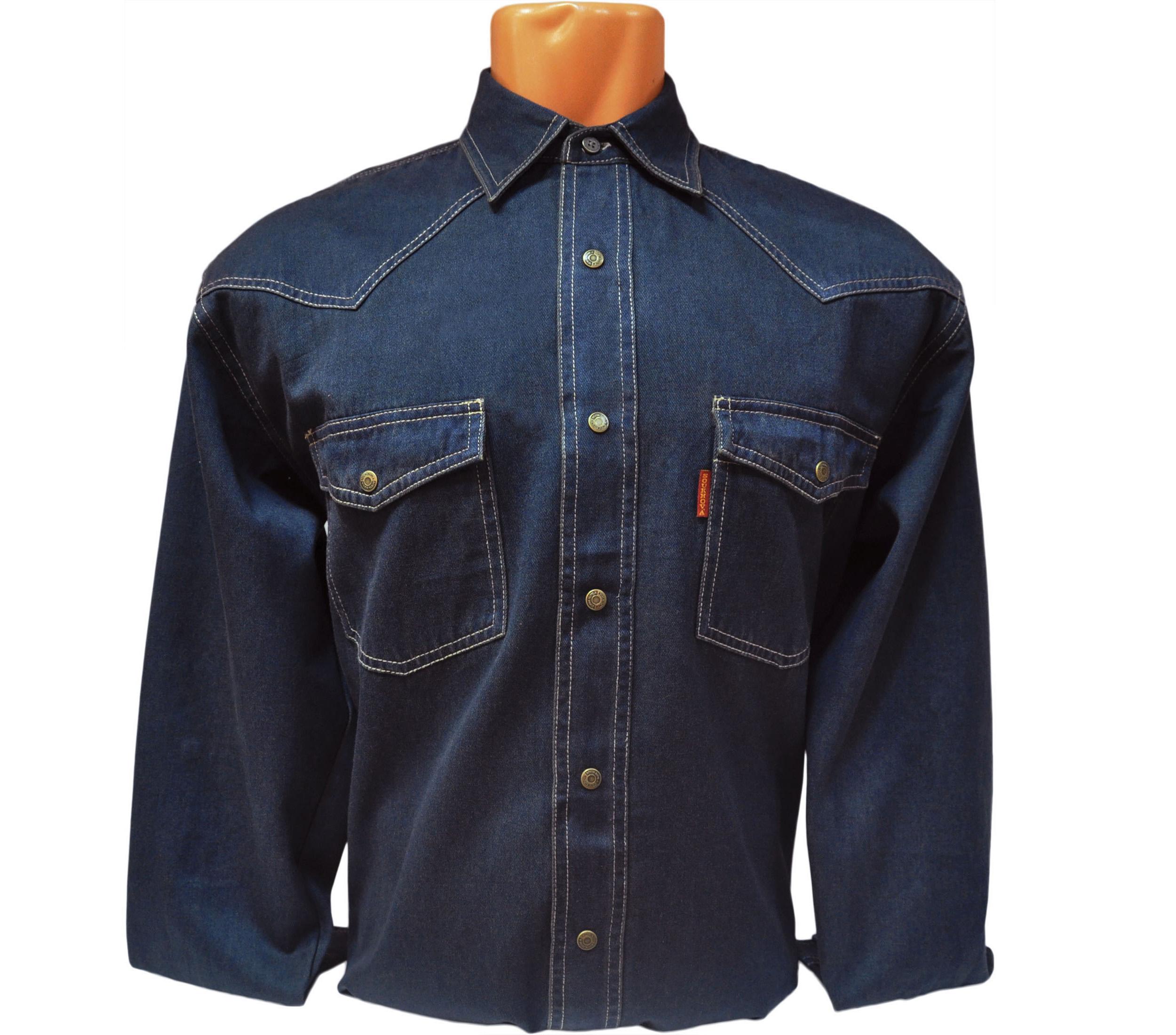 Джинсовая мужская рубашка большого размера цвет BB. Модель