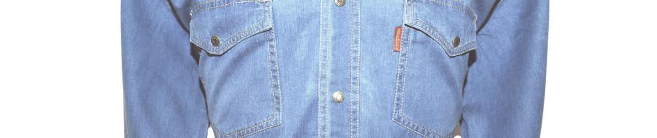 Джинсовая мужская рубашка большого размера цвет светло-синий LST