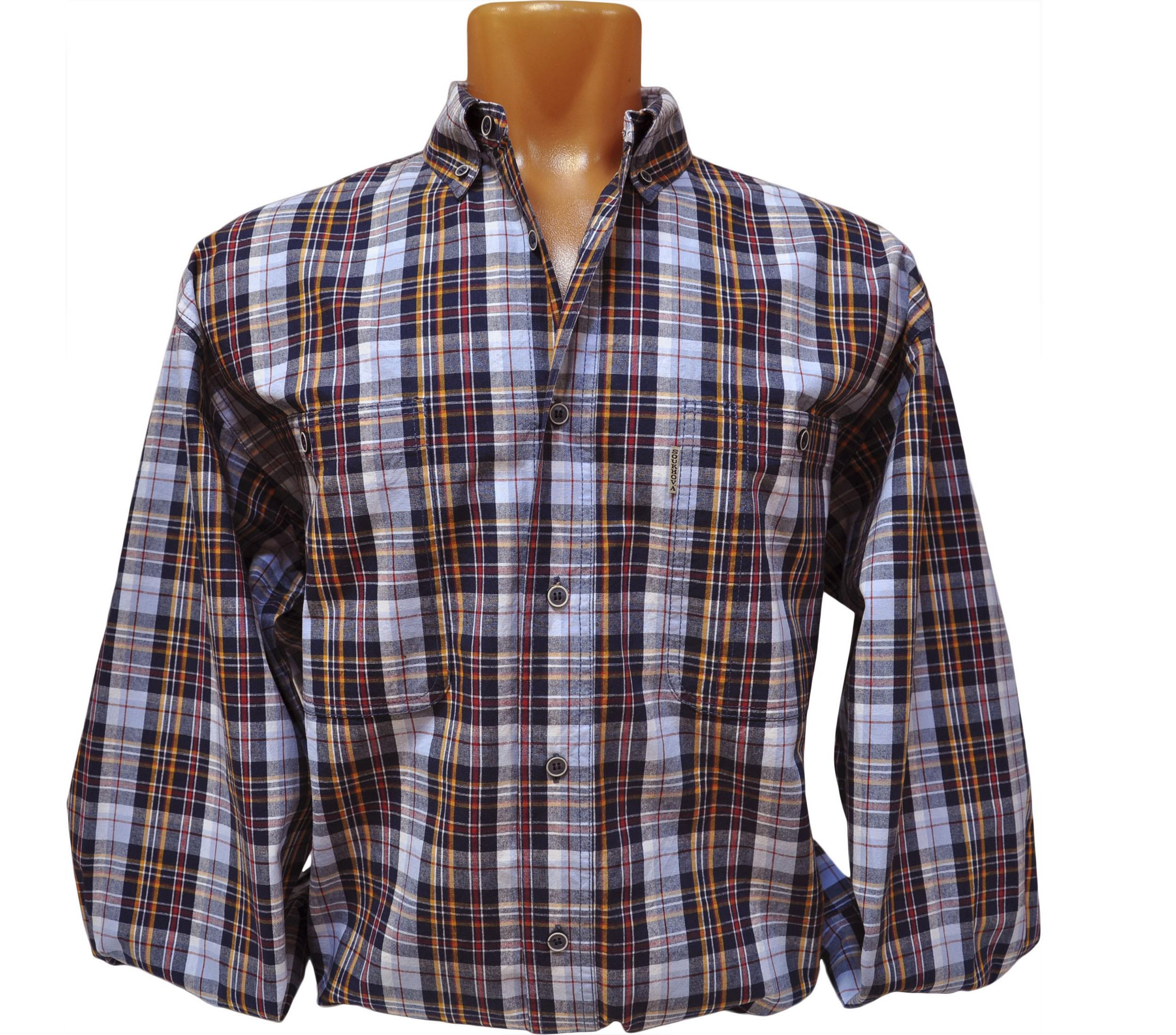 Мужская рубашка супер большого размера в голубую с оранжевым