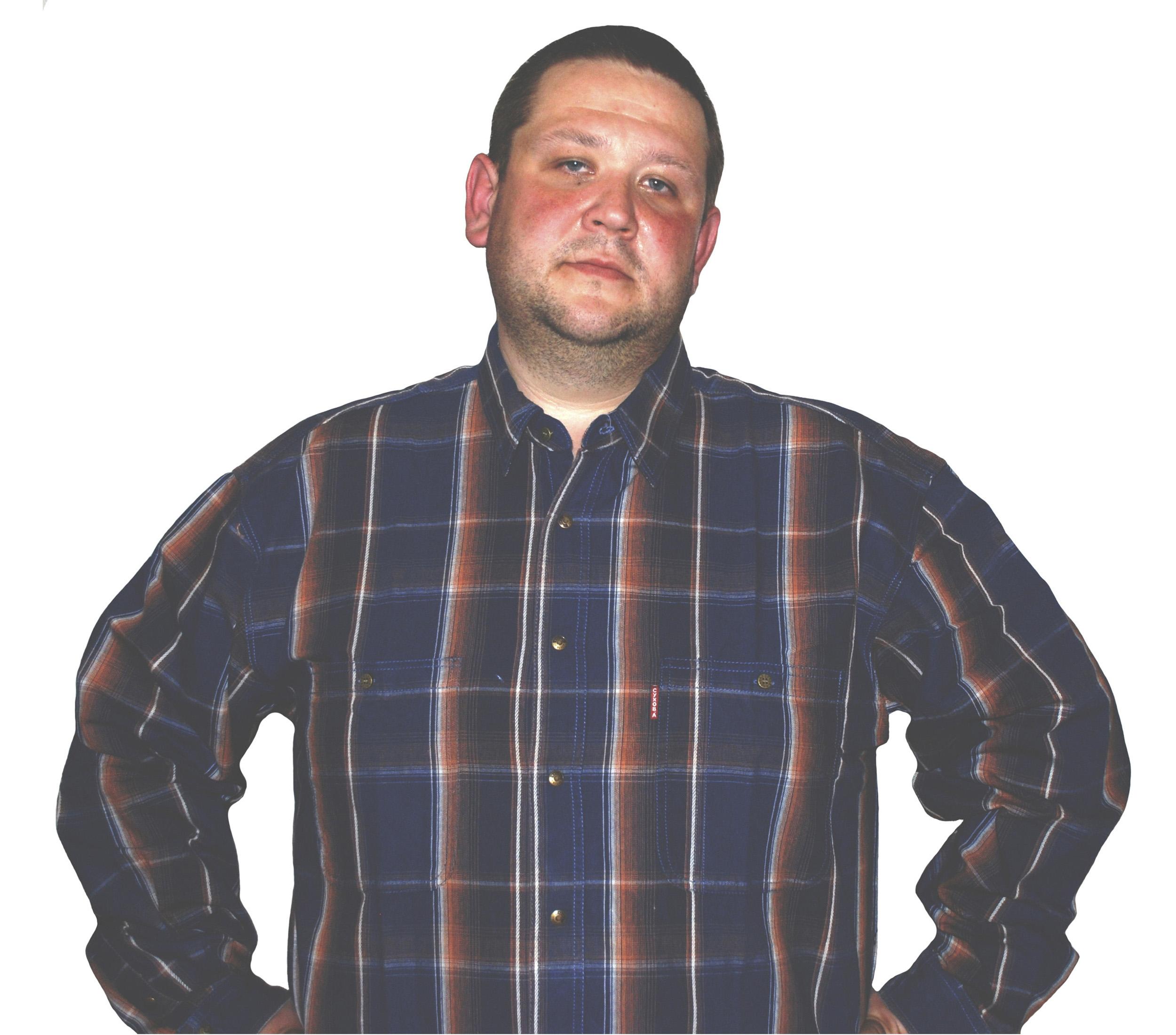 Рубашка большого размера в бордово-синюю клетку. Модель