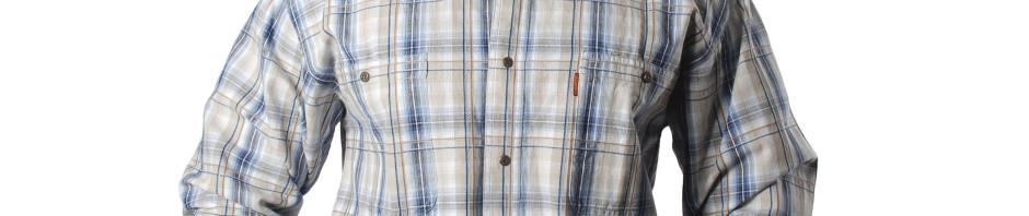 Мужская рубашка в средней величины сине бежевую клетку с коричневой полосой