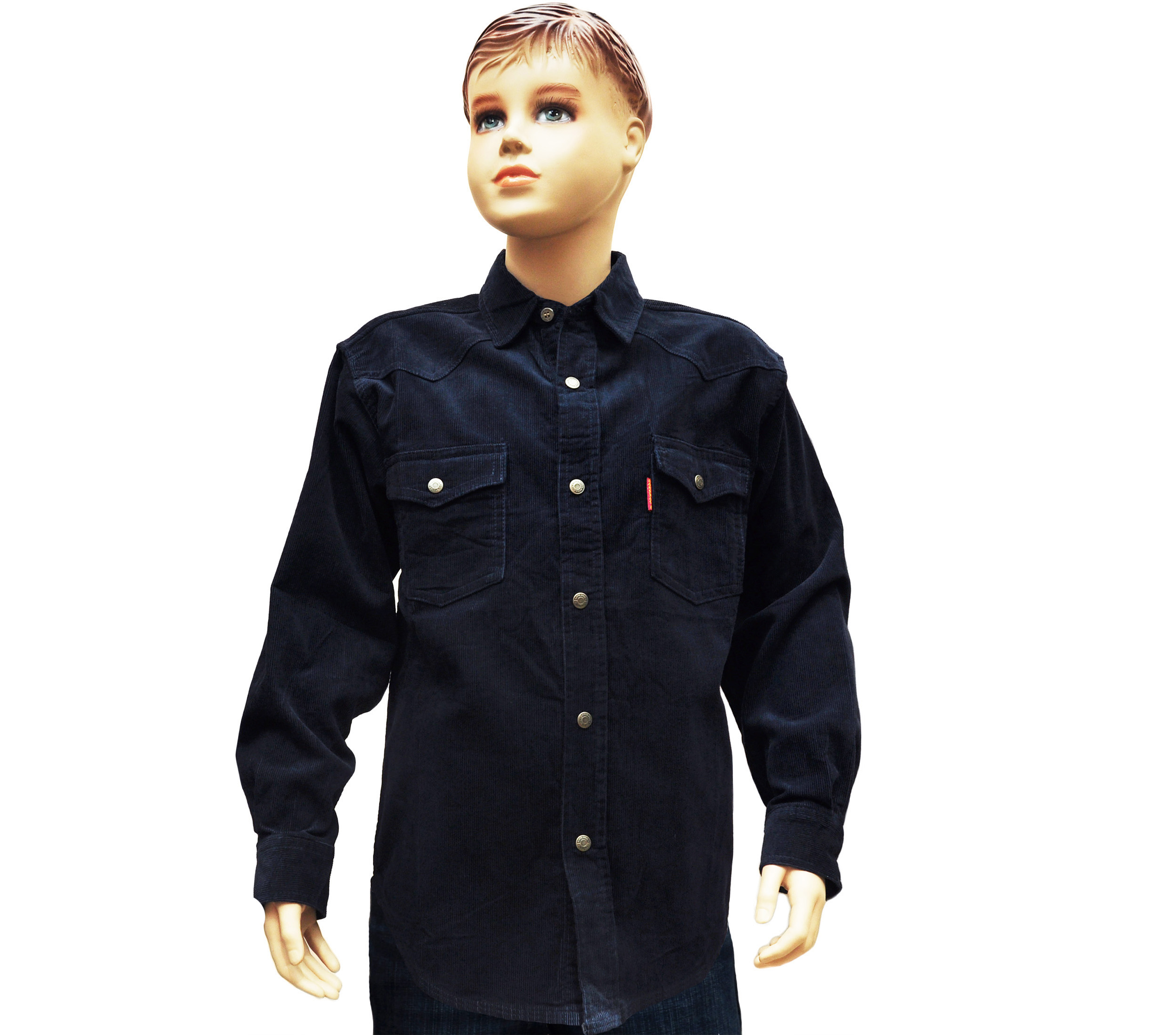 Подростковая рубашкас длинным рукавом вельветовая, синего цвета