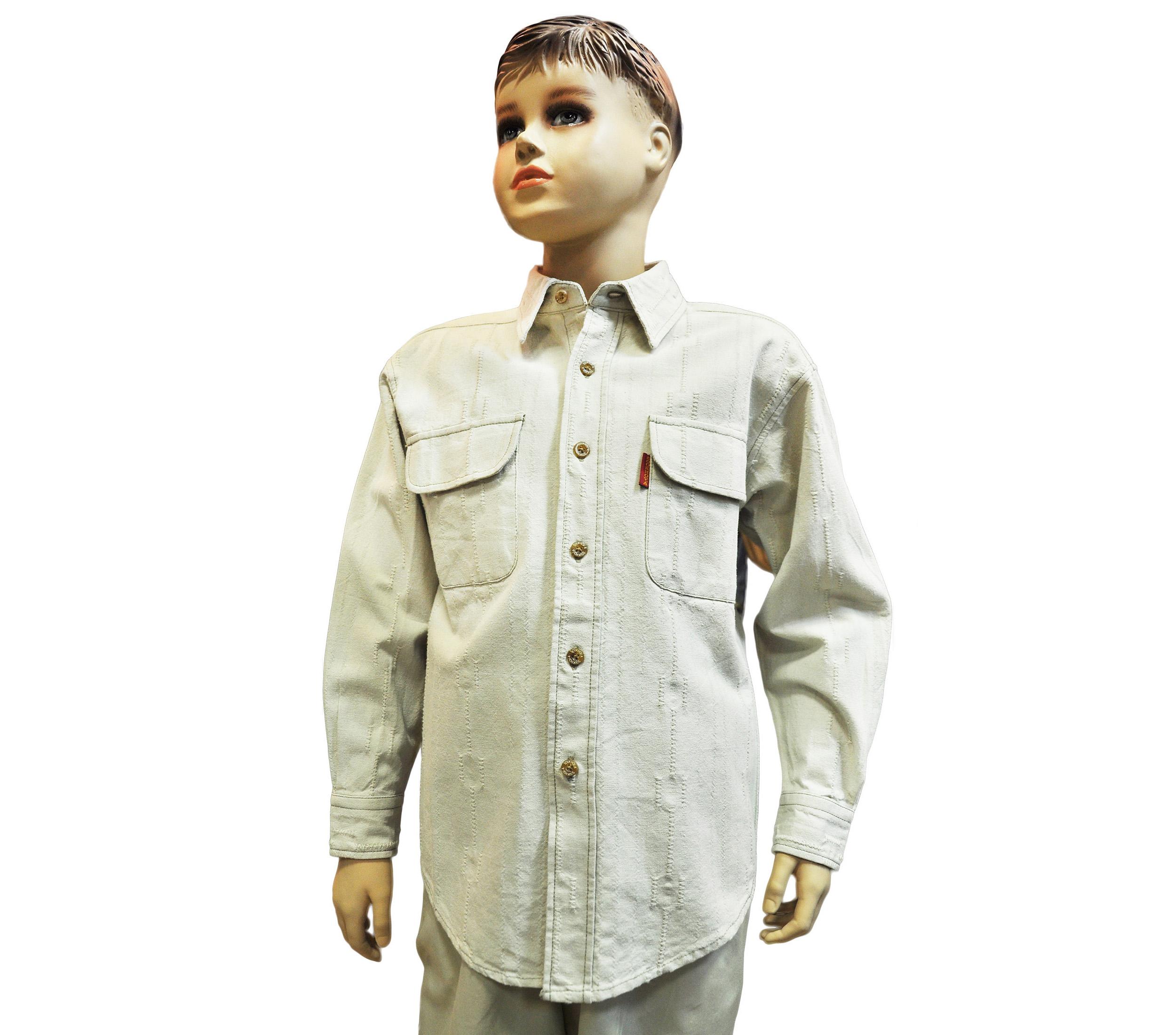 Подростковая рубашкас длинным рукавом бежевого цвета