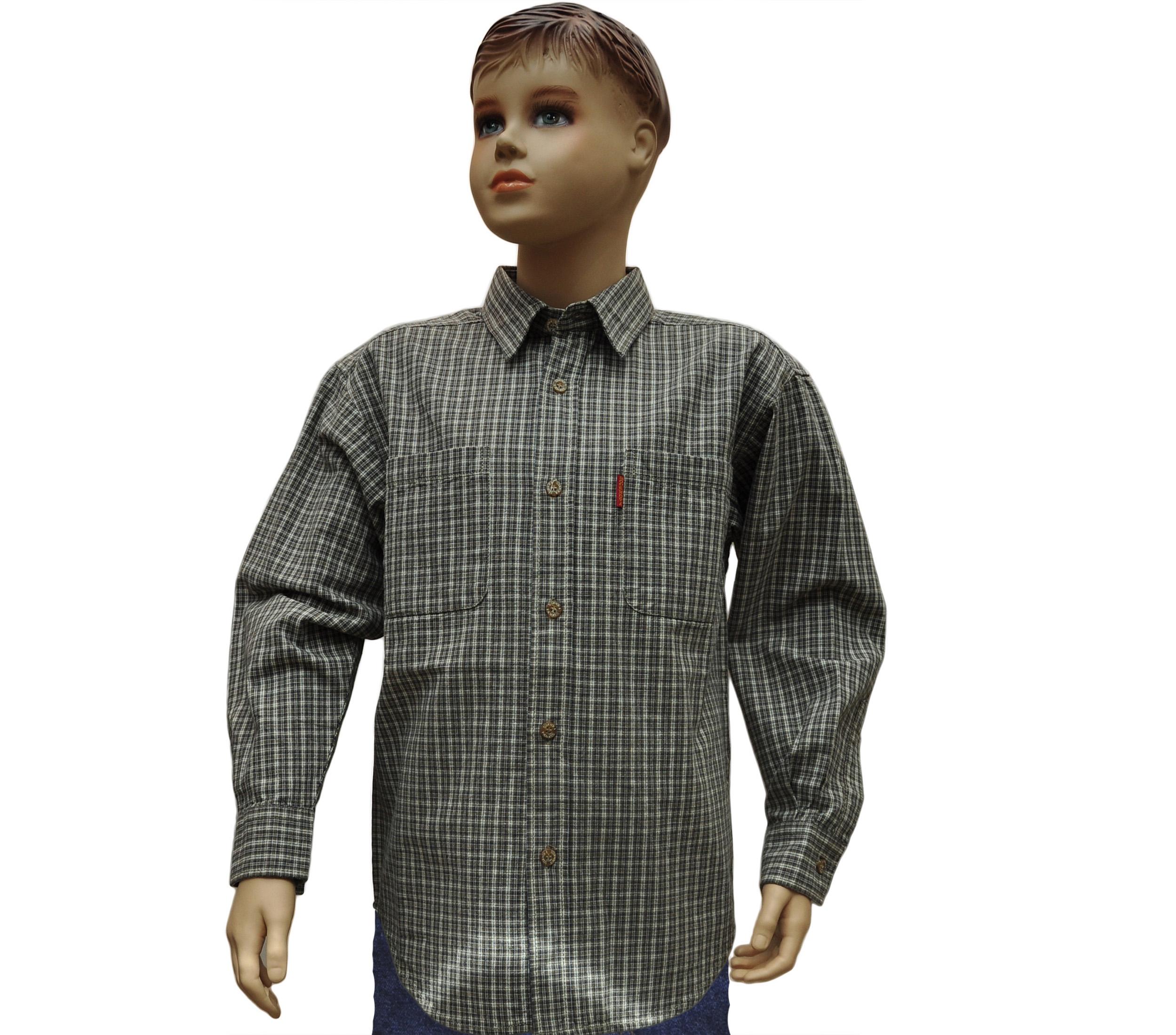 Подростковая рубашкас длинным рукавом в мелкую коричневую