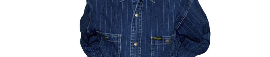 Подростковая джинсовая рубашкас длинным рукавом темно-синего
