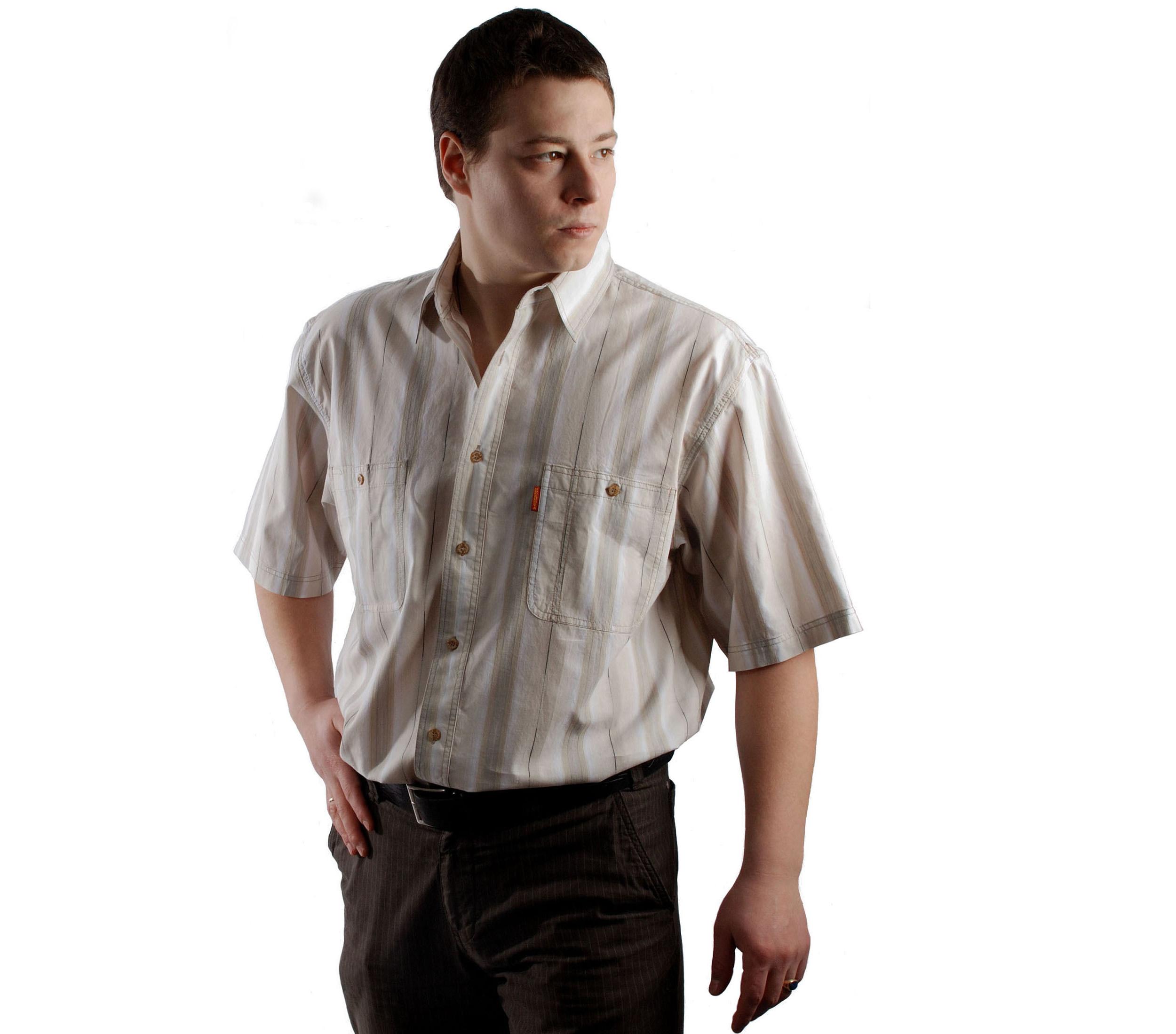 Рубашка короткий рукав в бежевую с серым полосой, с тонкой полоской.