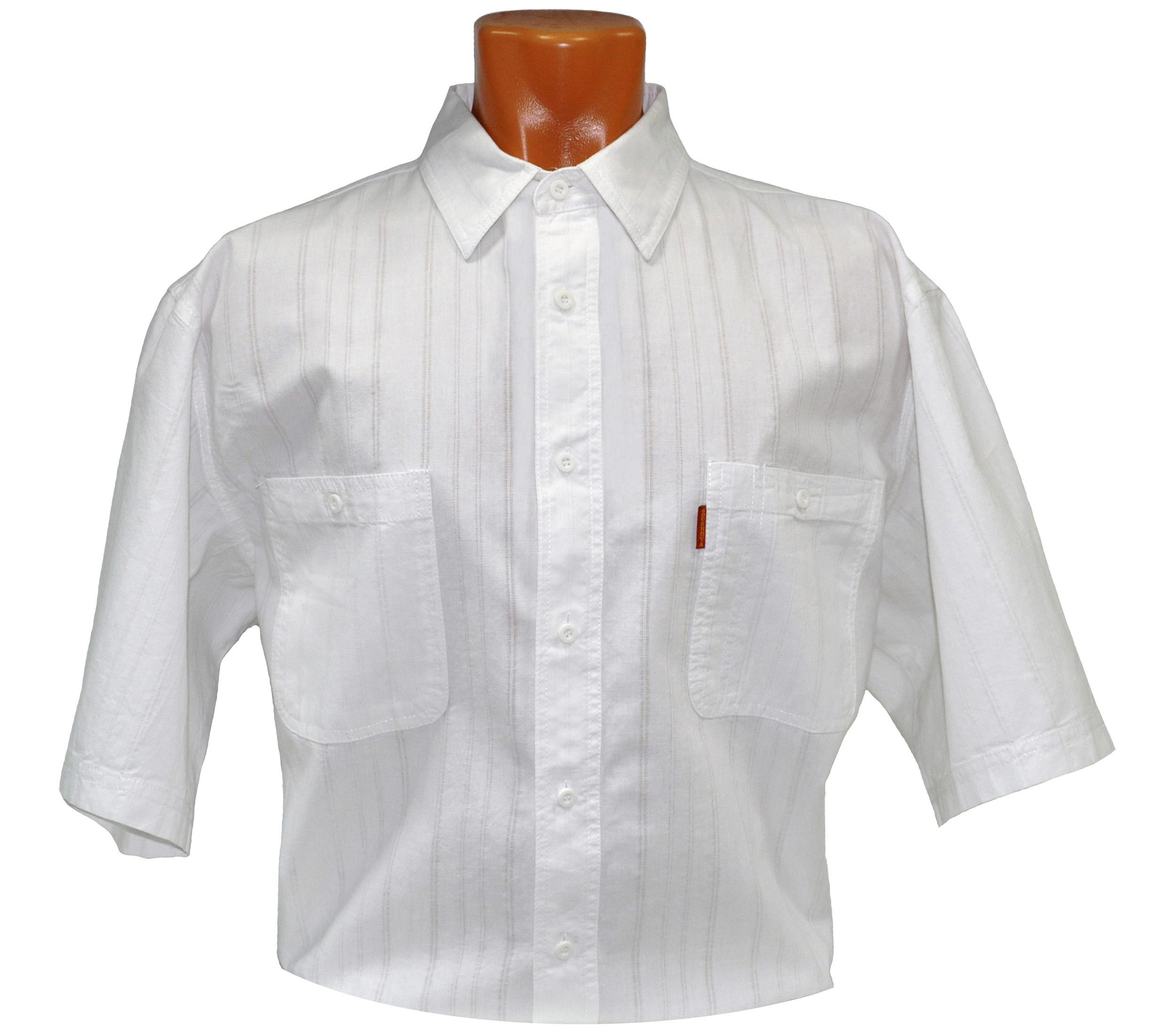 Рубашка мужская с коротким рукавом белого цвета с прострочками. Размер от 46