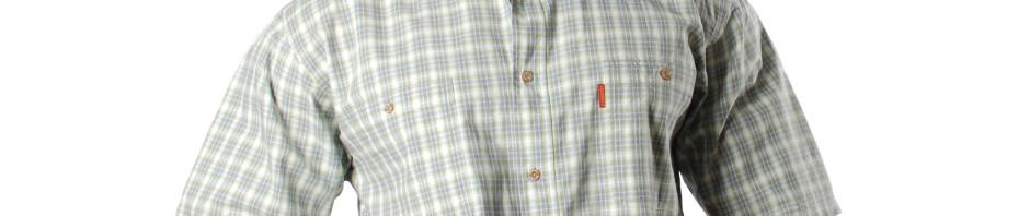 Мужская рубашка с коротким рукавом в мелкую зеленую клетку.