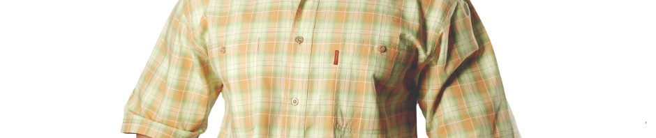 Рубашка в среднюю оранжево-салатневую клетку. Размер от 46-48