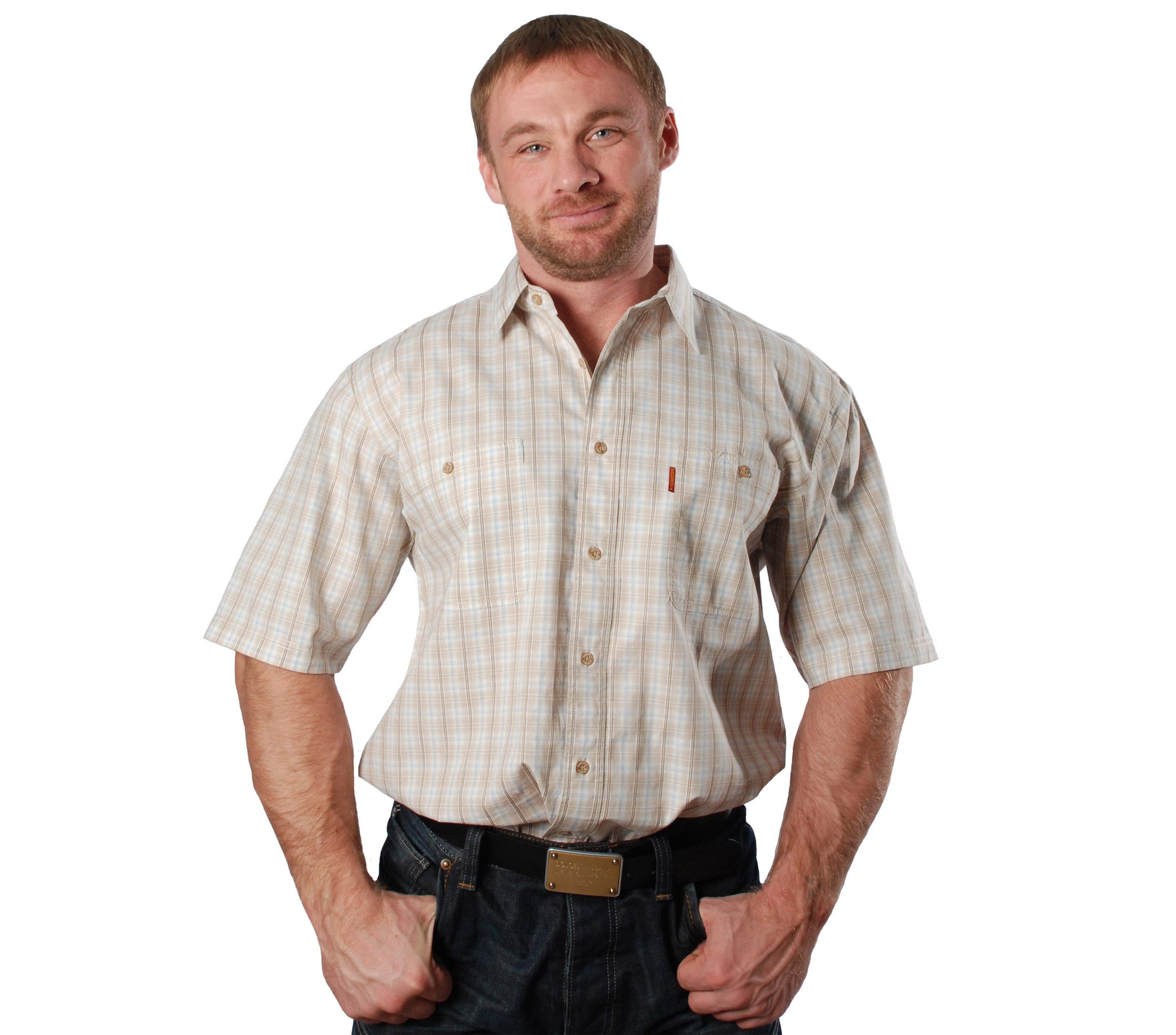 Рубашка в среднюю оранжевую клетку. Размер от 46-48 до 54-56