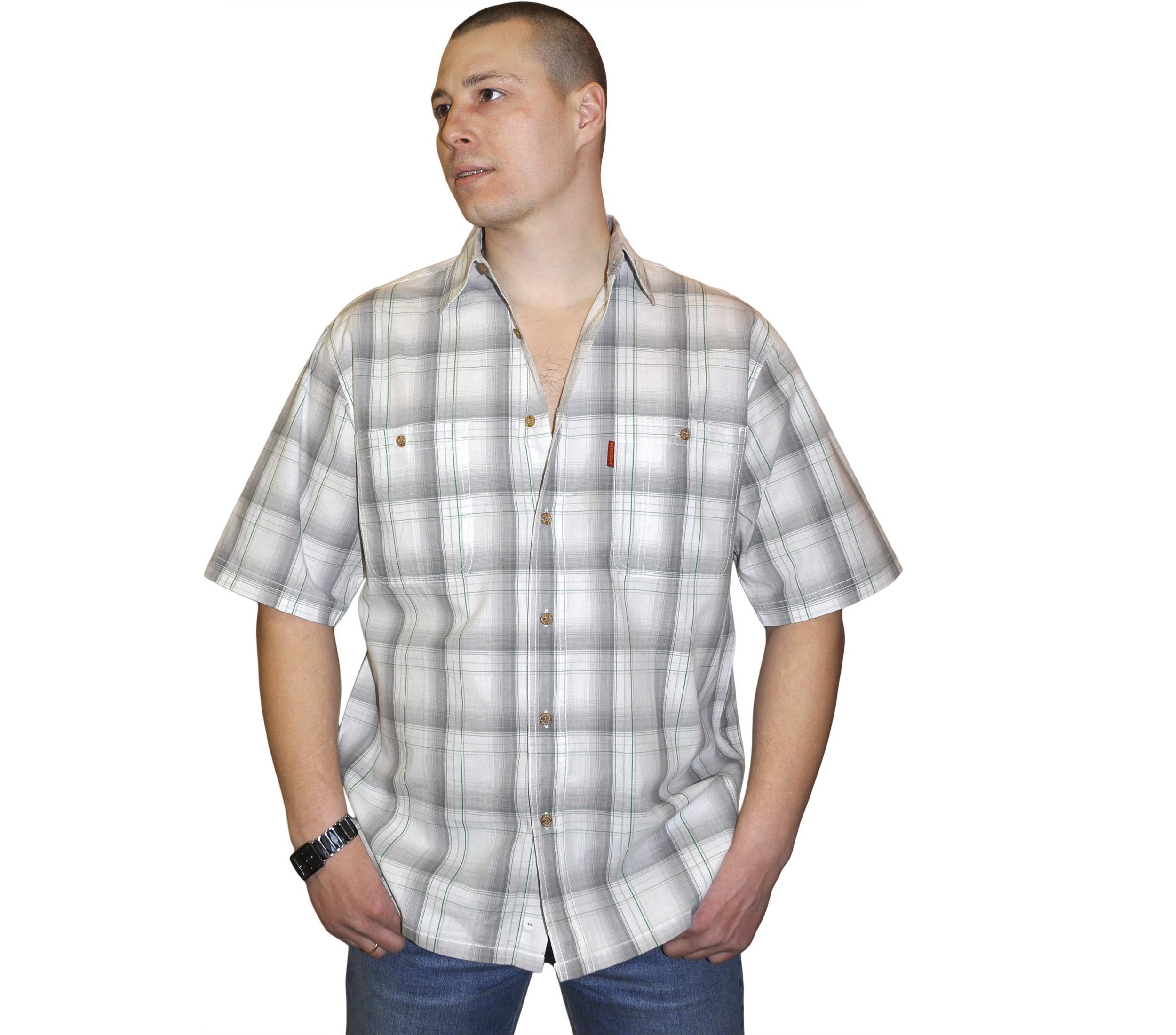Рубашка с коротким рукавом в крупную бело-серую клетку с зеленой