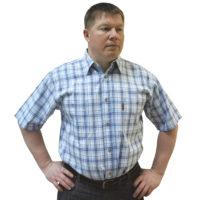 Мужская рубашка с коротким рукавом в среднюю синюю клетку. Размер от 46