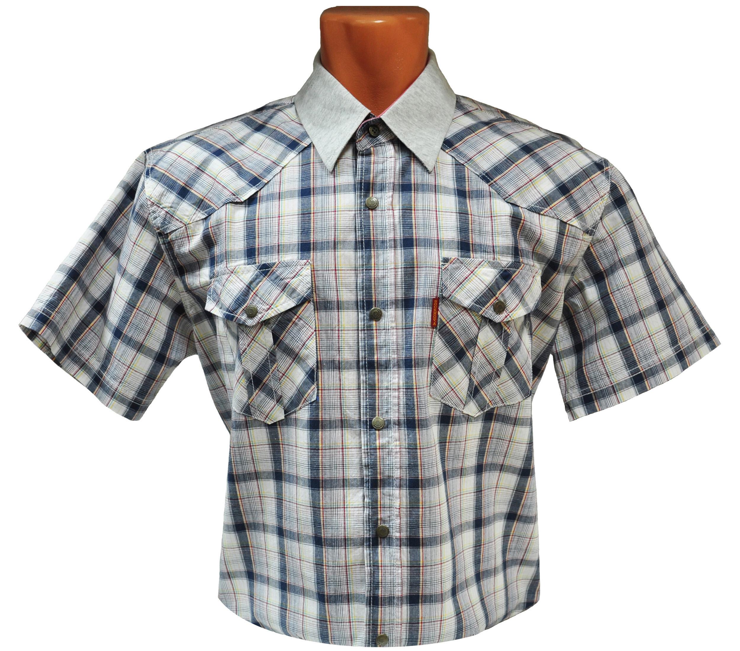 Мужская рубашка с коротким рукавом в среднюю сине-фиолетовую клетку