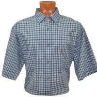 Мужская рубашка с коротким рукавом в мелкую сине-серую клетку. Размер