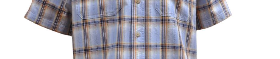 Мужская рубашка с коротким рукавом в крупную оранжево-голубую клетку. Размер