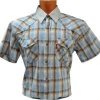 Рубашка с коротким рукавом в крупную оранжево-голубую клетку. Размер