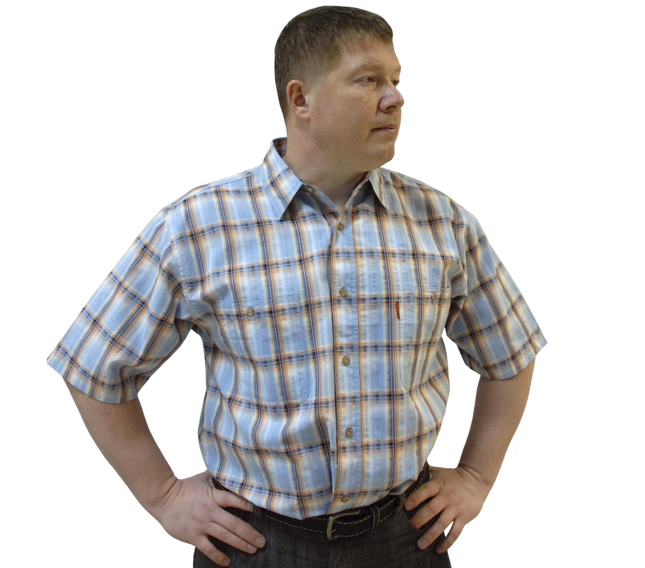 Мужская рубашка с коротким рукавом в крупную оранжево-голубую клетку