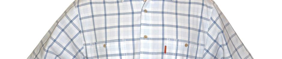 Мужская рубашка с коротким рукавом в крупную белую с серо-голубым клетку