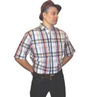 Рубашка с коротким рукавом в красно-серо голубую клетку с тонкой блестящей