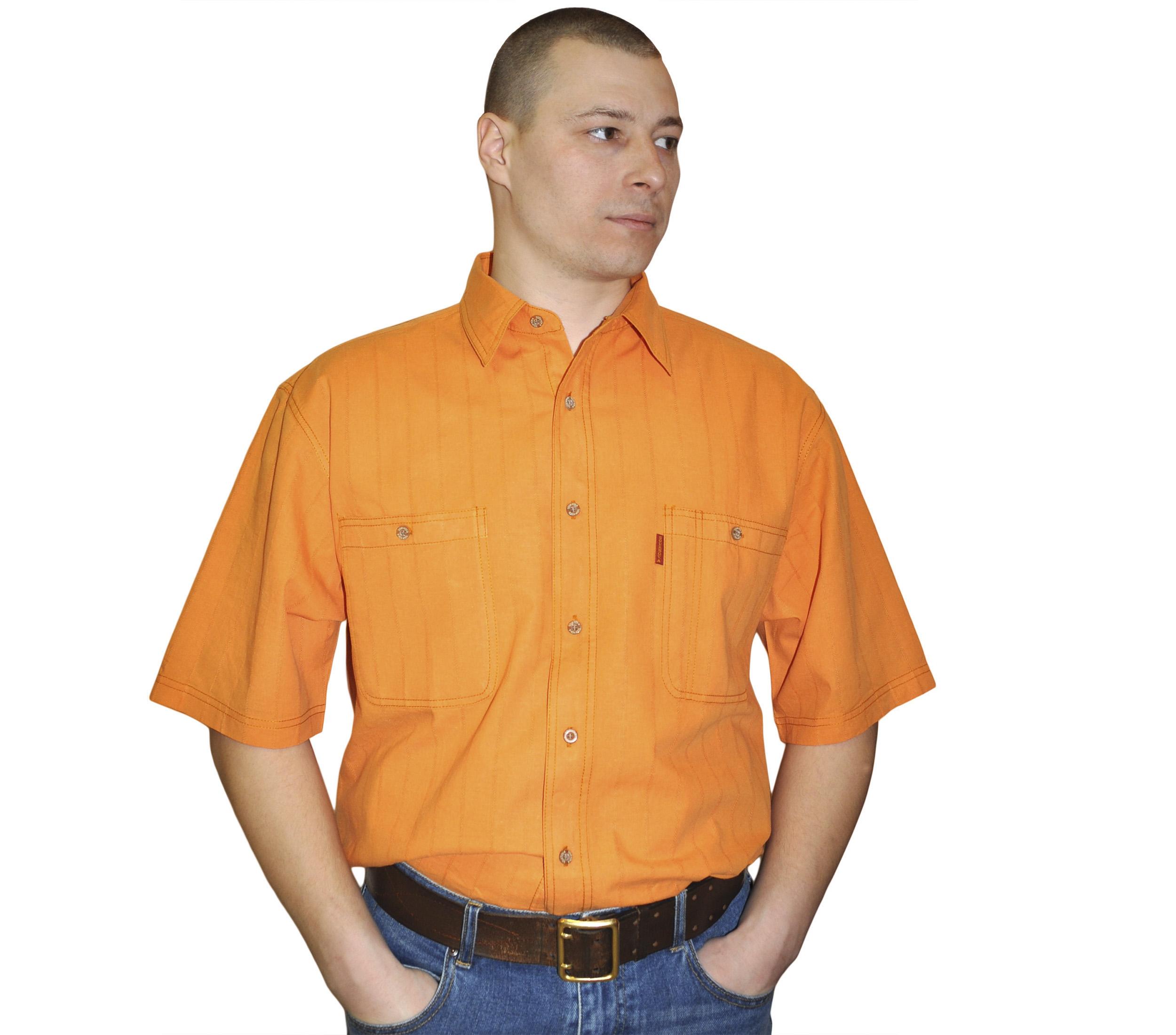 Рубашка с коротким рукавом оранжевого цвета. Размер от 46-48