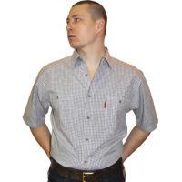 Мужская рубашка с коротким рукавом в мелкую клетку. Размер от 46
