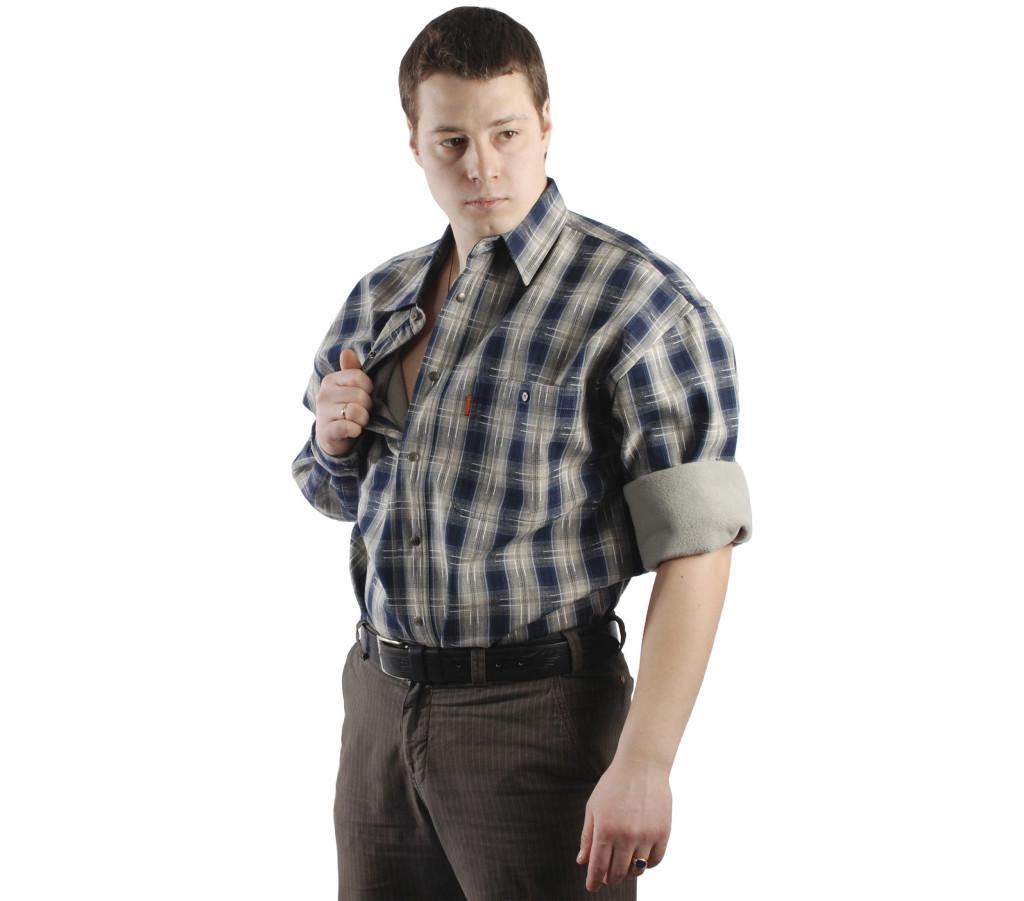 0e81def41f9 Мужская утепленная рубашка в сине-зеленую клетку на подкладке