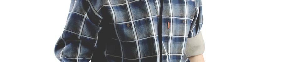 Мужская утепленная рубашка в синюю клетку на подкладке из флиса