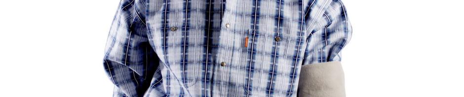 Мужская утепленная рубашка в светло синюю и темно синюю клетку