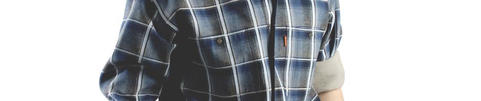 Утепленная рубашка в темно синюю с белым клетку на флисе. Модель