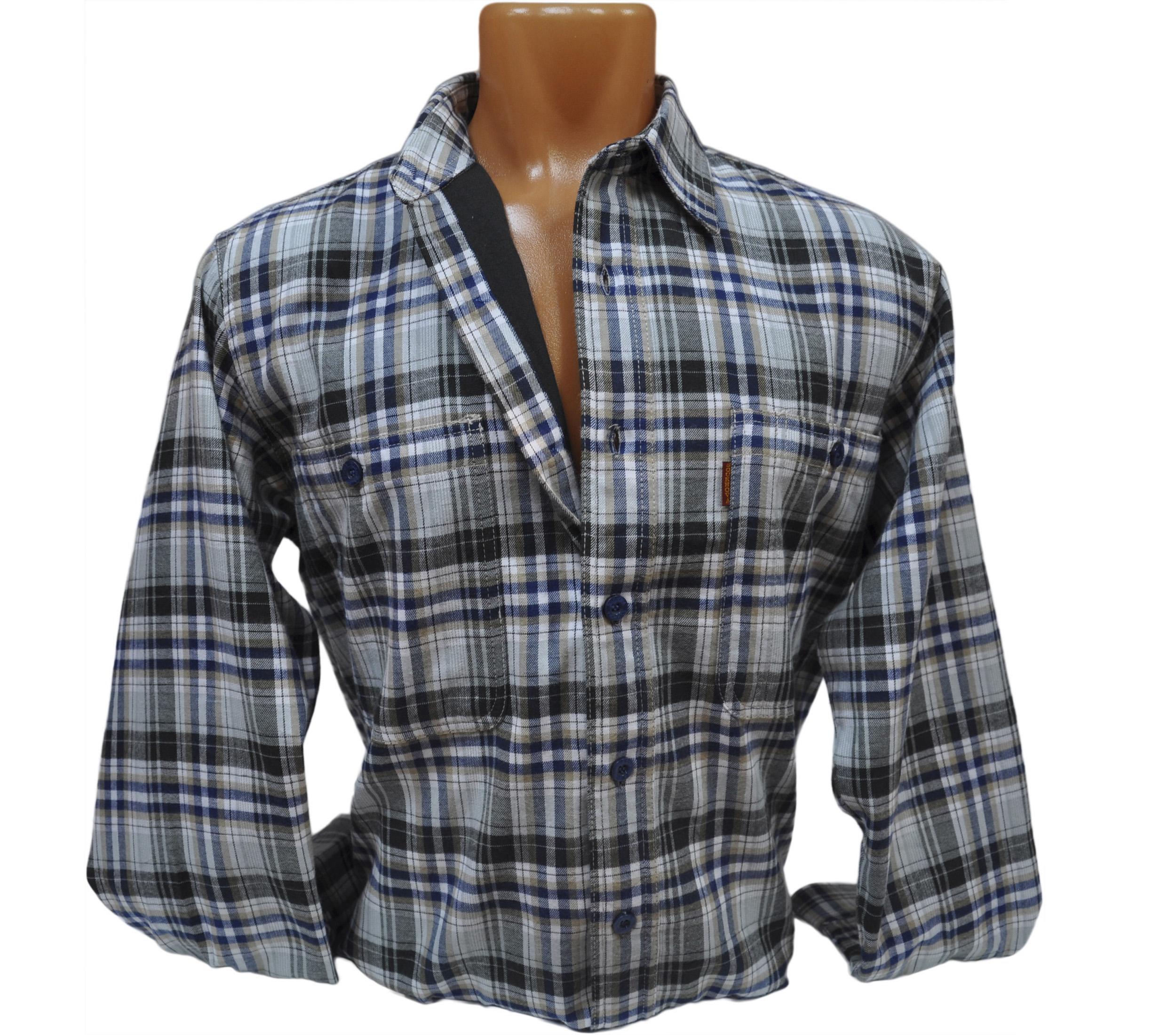 Мужская фланелевая рубашка в крупную серо-пепельную клетку. Модель W
