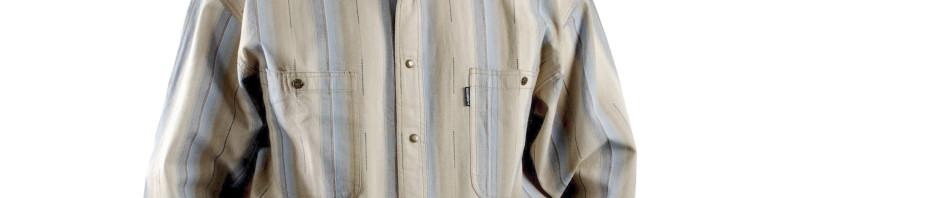 Мужская рубашка с длинным рукавом в крупную голубую и бежевую полоску