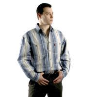Мужская рубашка с длинным рукавом в крупную серую полоску