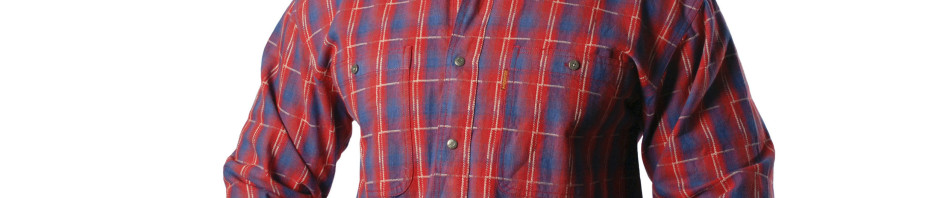 Рубашка с длинным рукавом в крупную красно синюю клетку. Размер