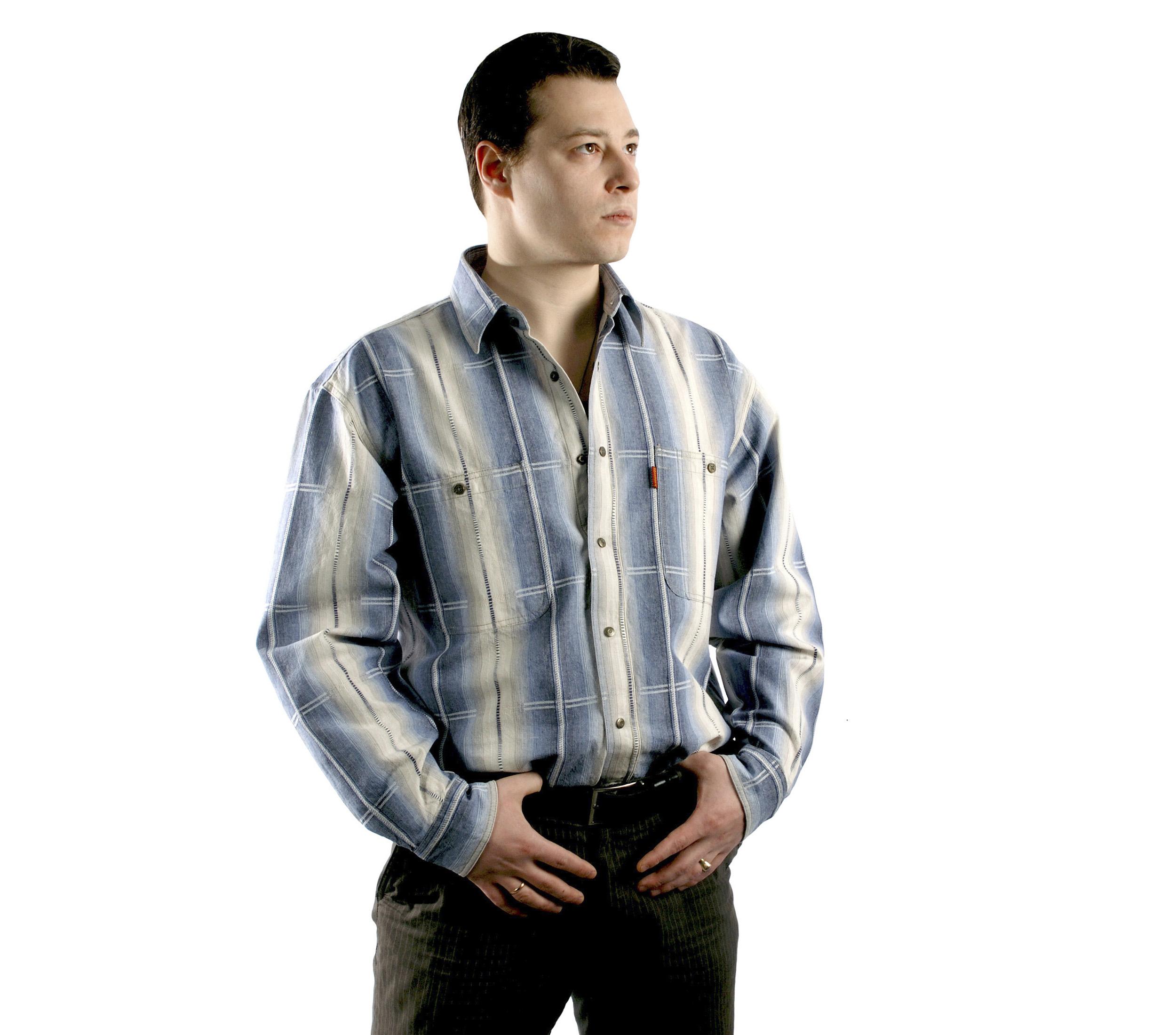 Мужская рубашка с длинным рукавом в крупную серо-бежевую полоску