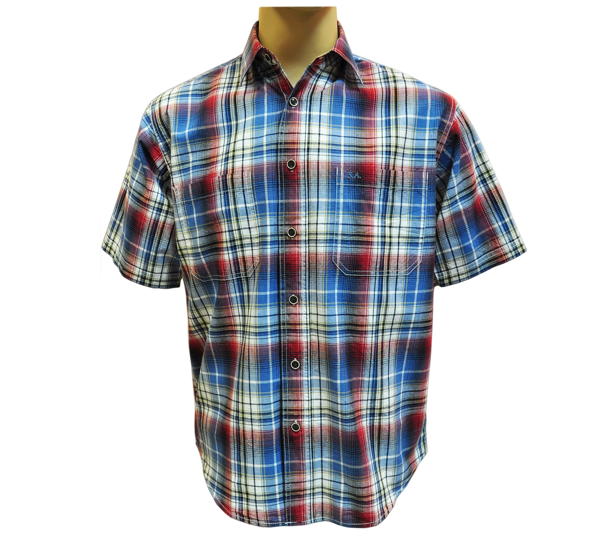 Мужская рубашка в крупную красно-синюю клетку. Модель G комбинированая