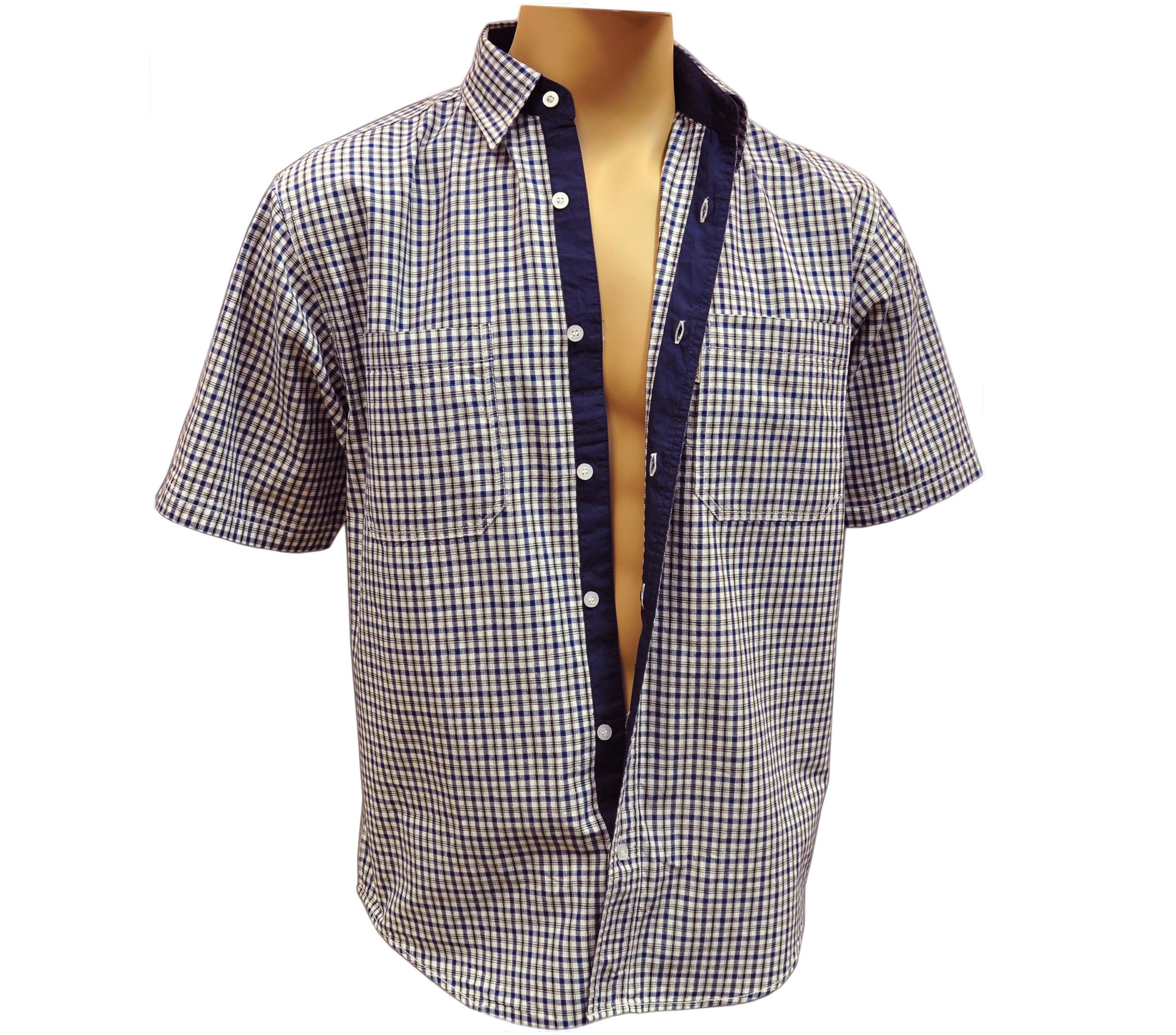 Мужская рубашка в мелкую сине белую клетку. Модель G комбинированная