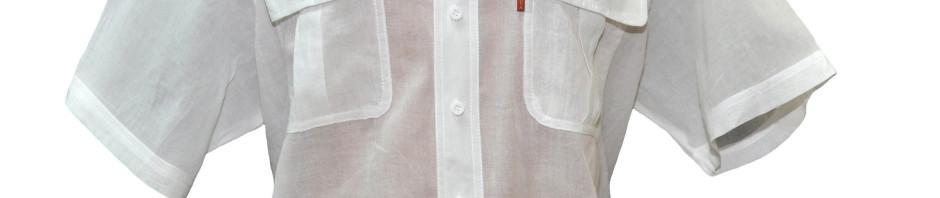 Мужская рубашка с коротким рукавом белого цвета из тонкого материала
