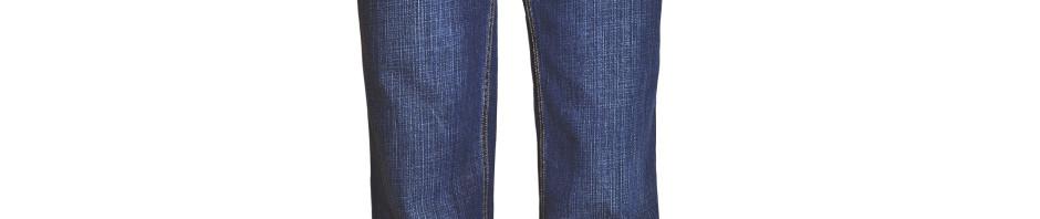 Джинсы мужские синего цвета с эфектом потертости, материал в рубчик