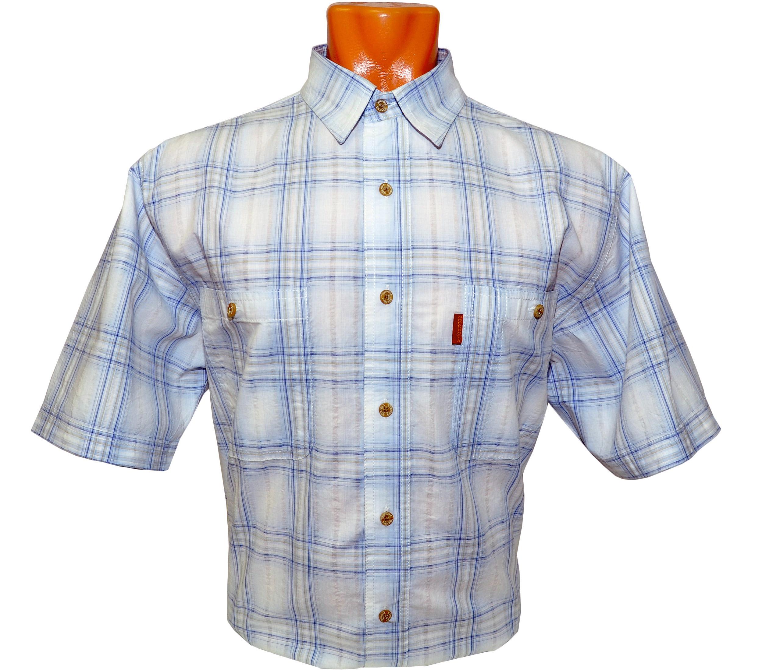 Рубашка в крупную сине-голубую клетку с тонкой темно синей полосочкой