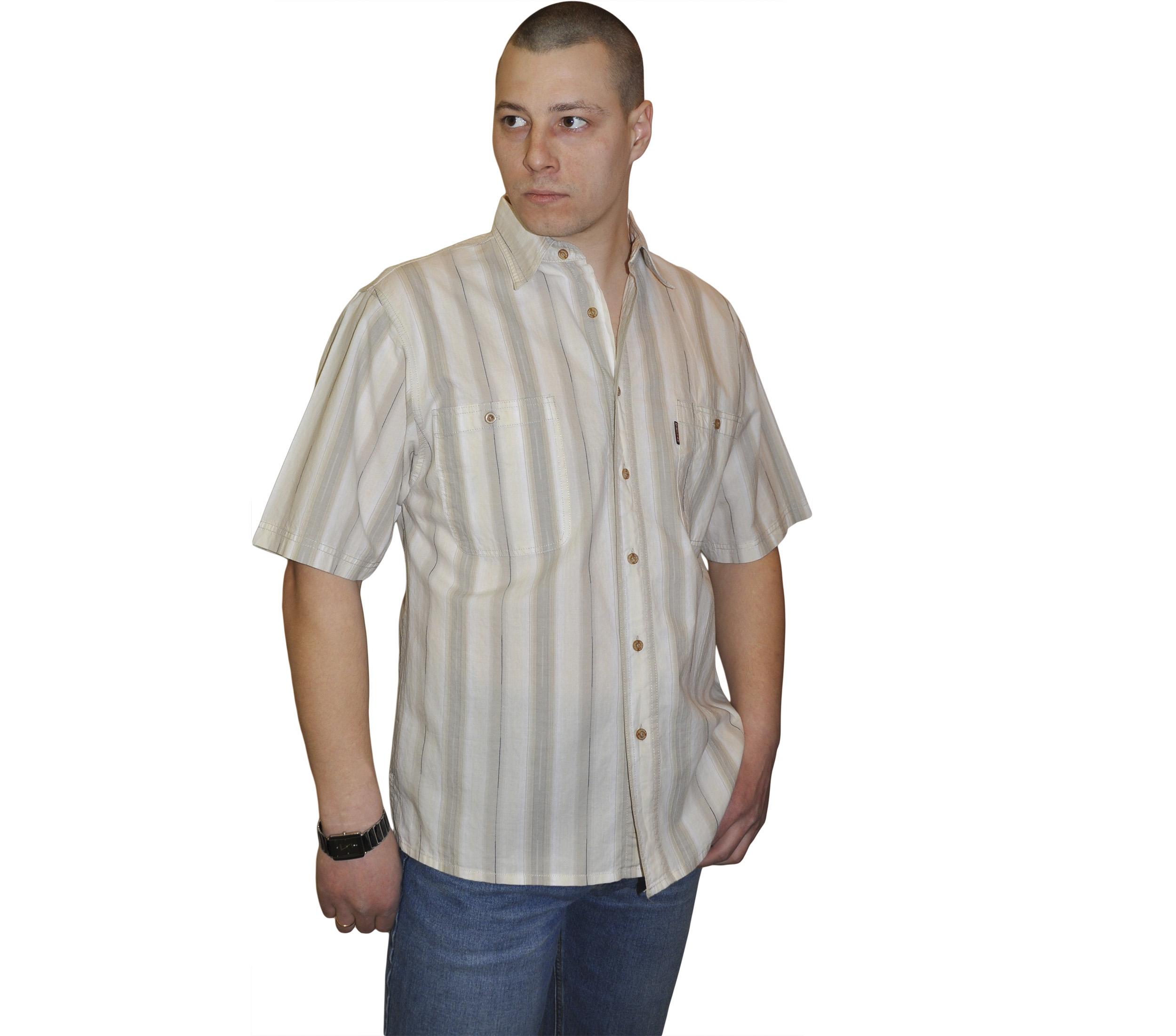 Мужская рубашка в толстую бежево-коричневую полосу и тонкую темно